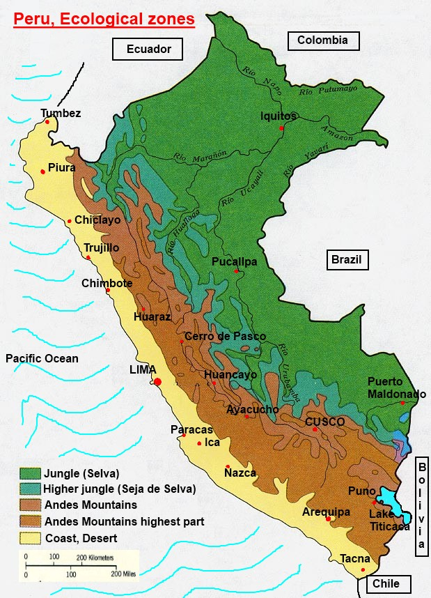 Andes Mountains Peru Map.Peru Climate Zones
